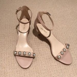 Nine West nude sandals with pearls